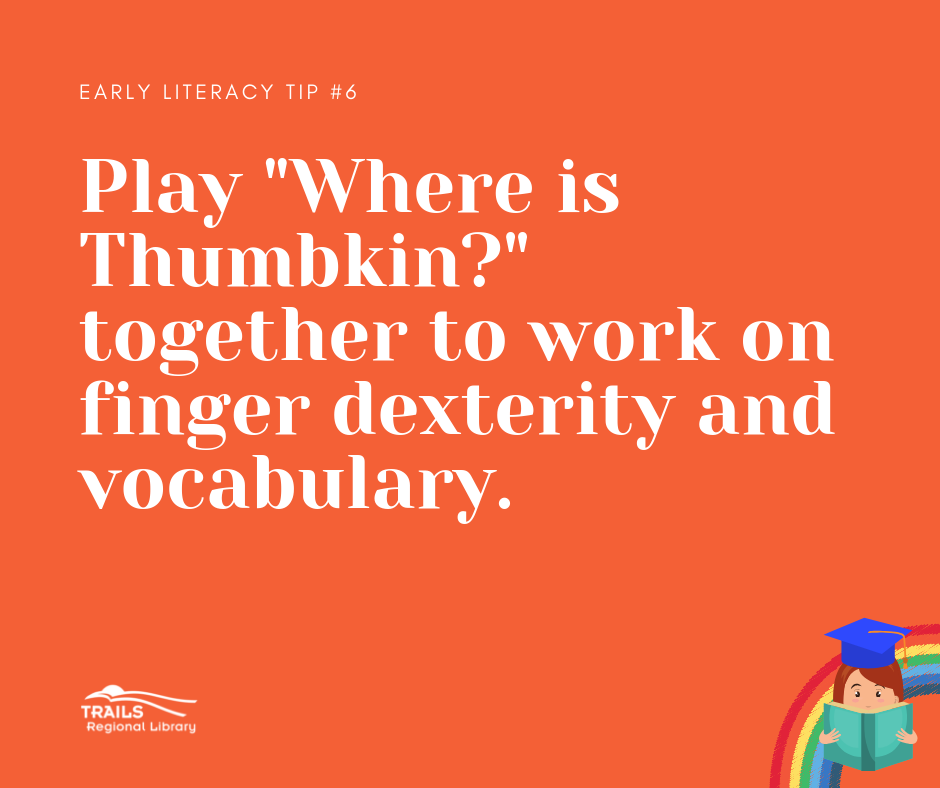 orange block with text play thumbkin to work on dexterity