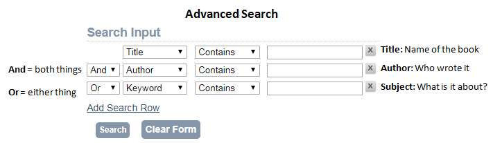 advanced search feature in catalog with fields for author subject and title search
