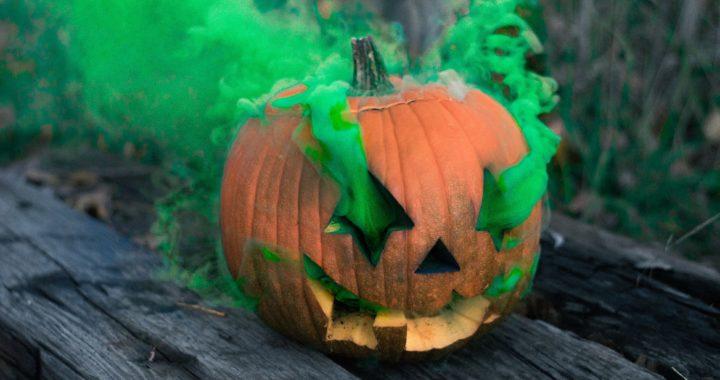 green smoke filled jack o'lantern