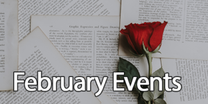 rose on open book with text february events